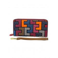 На фото 1 - Кожаный женский кошелёк-клатч с геометрическим орнаментом, мультицвет