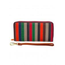 На фото 1 - Полосатый кошелёк-клатч из кожи, мультицвет