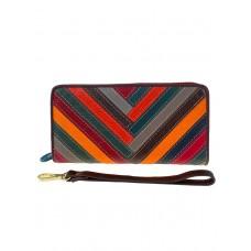 На фото 1 - Женский кошелёк-портмоне из натуральной кожи с орнаментом зигзаг, мультицвет