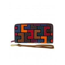 На фото 1 - Разноцветный кошелёк-портмоне из натуральной кожи с орнаментом