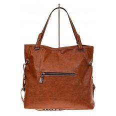 На фото 2 - Большая сумка из искусственной кожи, цвет коричневый