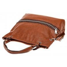 На фото 3 - Большая сумка из искусственной кожи, цвет коричневый