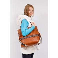 На фото 4 - Большая сумка из искусственной кожи, цвет коричневый