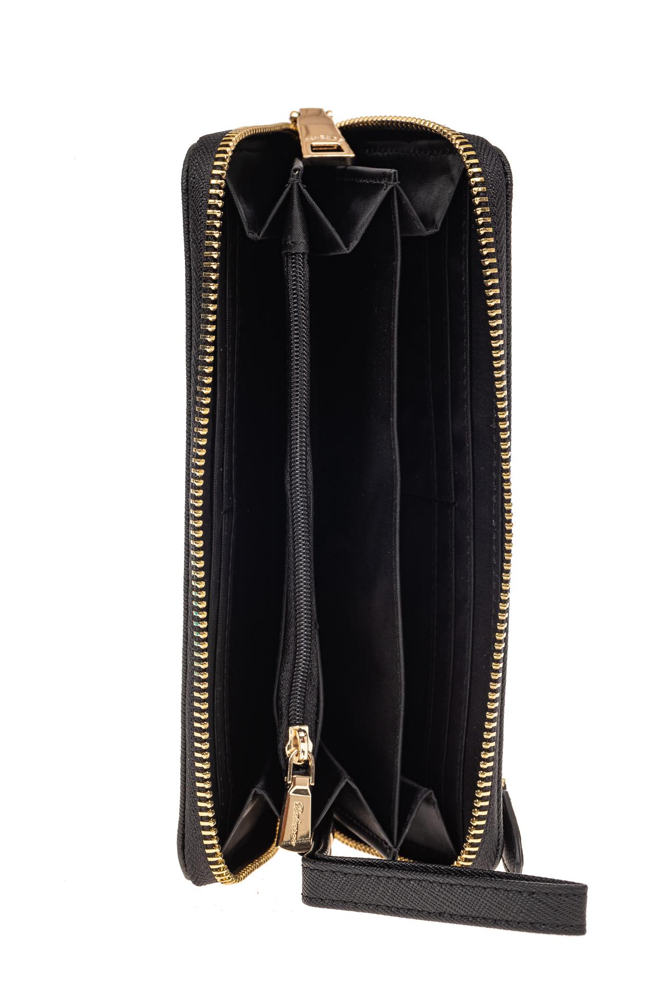 На фото 2 - Женский кошелек-клатч из натуральной кожи, цвет черный