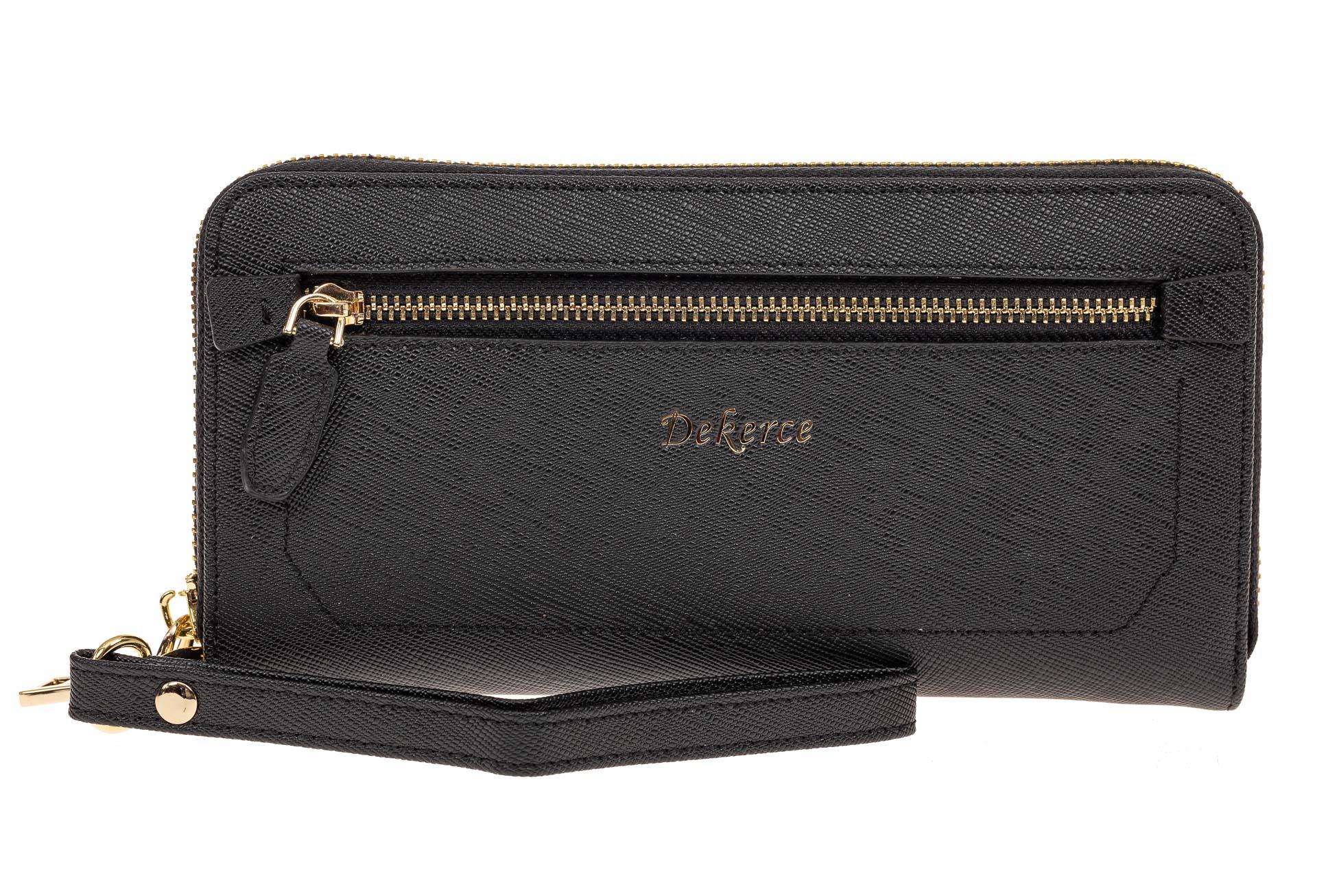На фото 1 - Женский кошелек-клатч из натуральной кожи, цвет черный