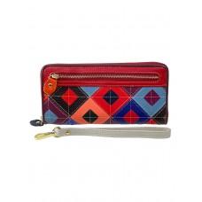 На фото 1 - Женское портмоне из натуральной кожи с геометрическим орнаментом, мультицвет
