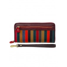 На фото 1 - Полосатый кошелёк-клатч из натуральной кожи, мультицвет