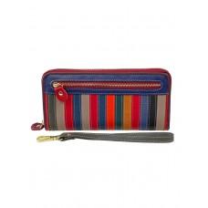 На фото 1 - Женское портмоне из натуральной кожи в полоску, мультицвет