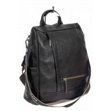 На фото 1 - Рюкзак-трансформер из искусственной кожи, цвет чёрный