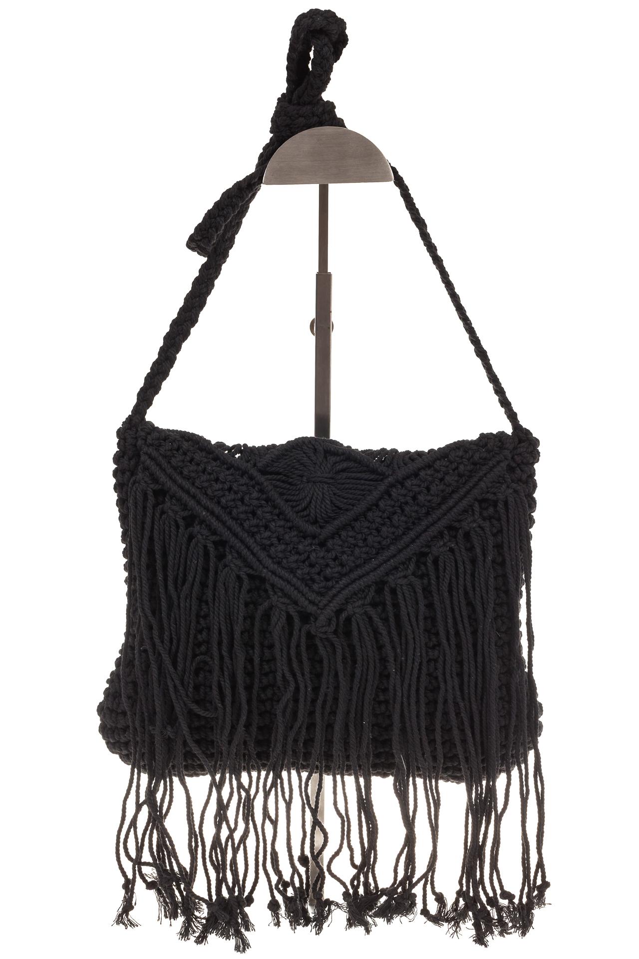 На фото 2 - Плетеная сумка-макраме черного цвета LA-1618