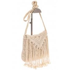 на фото Плетеная сумка-макраме белого цвета LA-1618