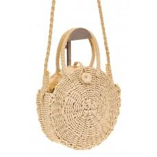 На фото 1 - Круглая плетеная сумка из джута, цвет молоч...