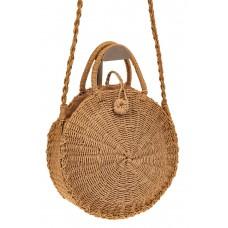 На фото 1 - Пляжная круглая плетеная сумка из джута, цв...