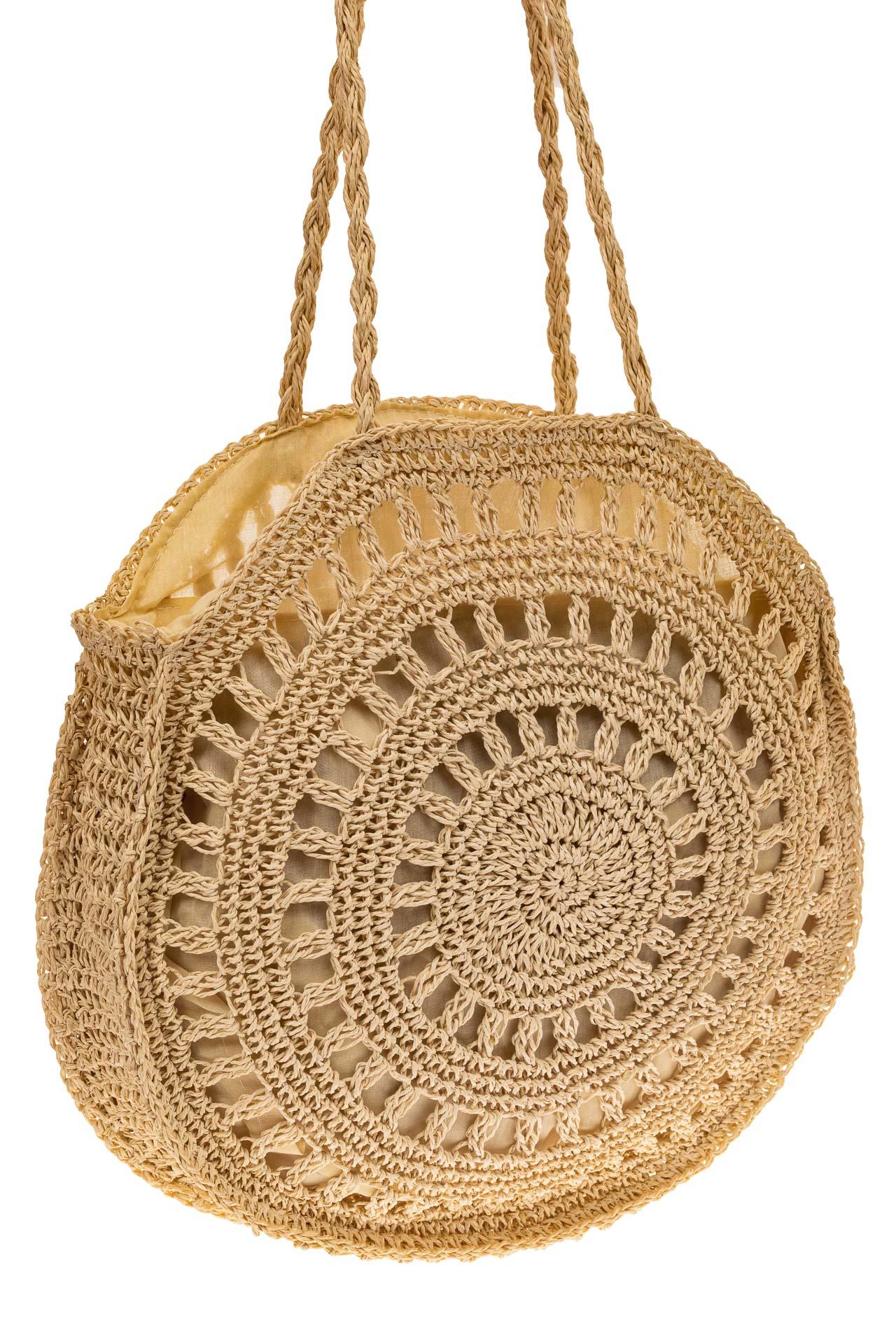 На фото 1 - Большая круглая плетеная сумка из джута, цвет светло-бежевый