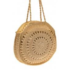 На фото 1 - Круглая плетеная дешевая сумка из джута, цв...