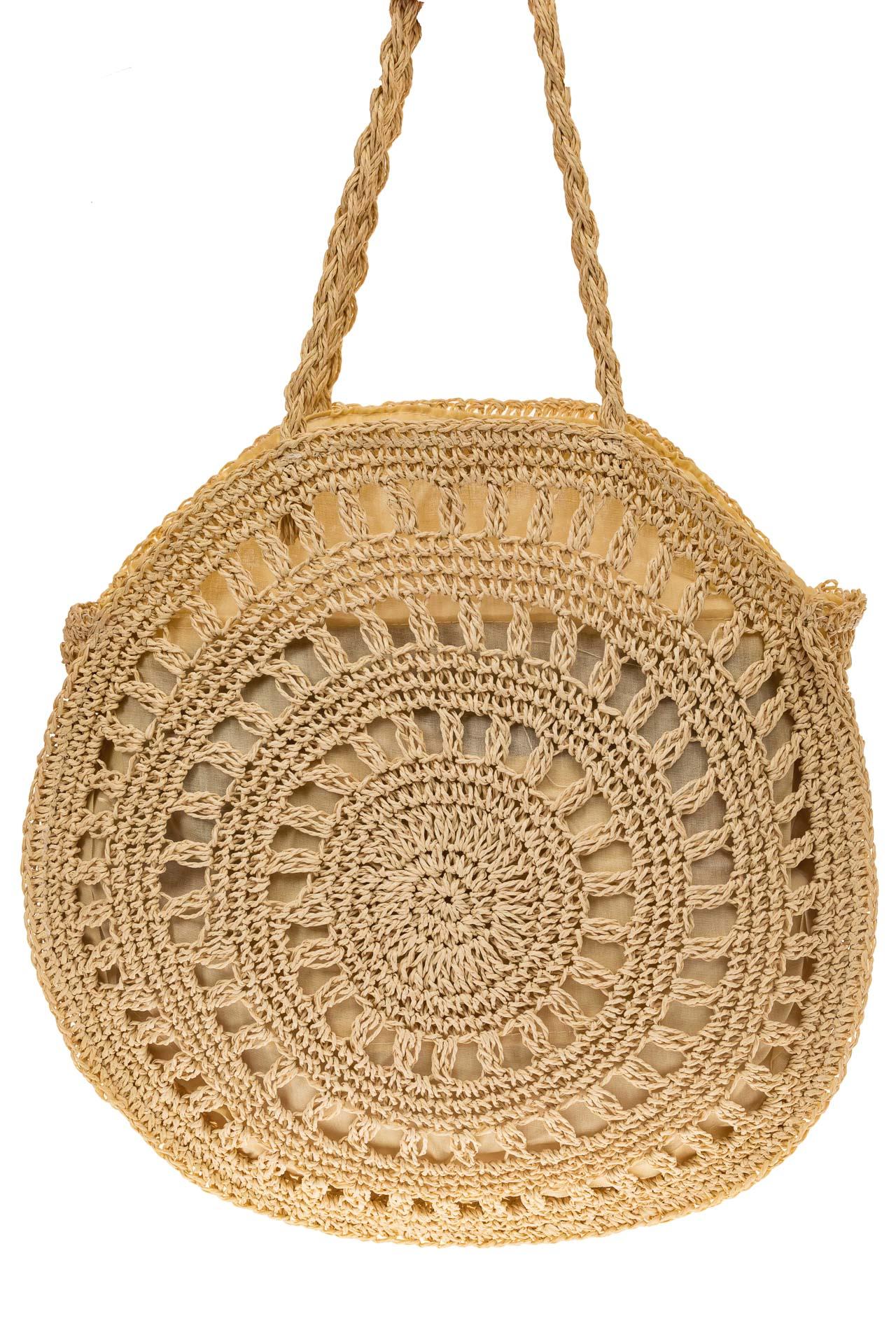На фото 2 - Женская сумка круглая плетеная дешевая из джута, светло-бежевая