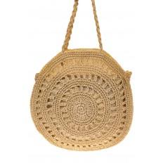 На фото 2 - Большая круглая плетеная сумка из джута, цвет светло-бежевый