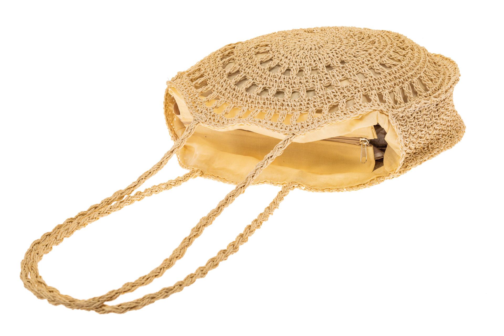 На фото 3 - Большая круглая плетеная сумка из джута, цвет светло-бежевый