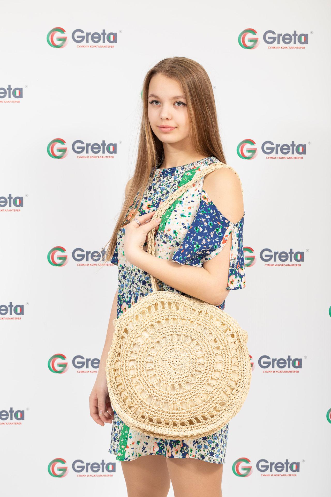 На фото 4 - Женская сумка круглая плетеная дешевая из джута, светло-бежевая