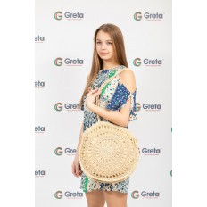 На фото 4 - Большая круглая плетеная сумка из джута, цвет светло-бежевый