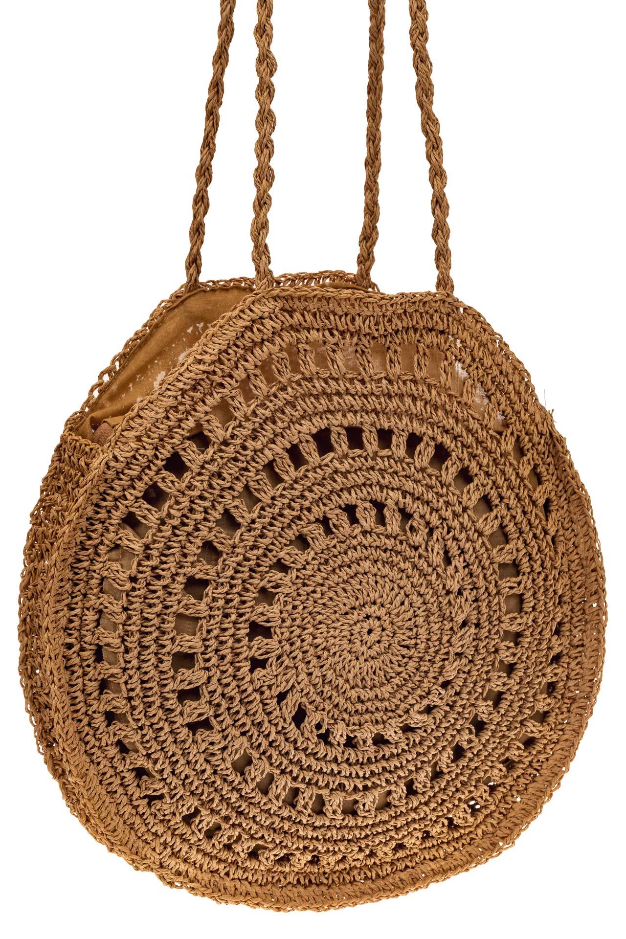 На фото 1 - Большая круглая плетеная сумка из джута, цвет крафт