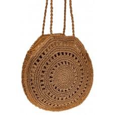 На фото 1 - Большая круглая плетеная сумка из джута, цв...