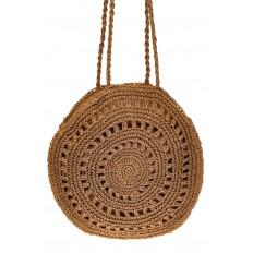 На фото 2 - Большая круглая плетеная сумка из джута, цвет крафт
