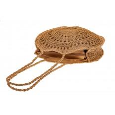 На фото 3 - Большая круглая плетеная сумка из джута, цвет крафт