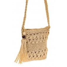 На фото 1 - Плетеная сумочка из мягкого джута, цвет беж...