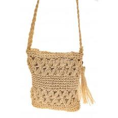 На фото 2 - Плетеная сумочка из мягкого джута, цвет бежевый