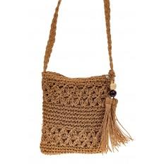 На фото 2 - Плетеная сумочка из мягкого джута, цвет крафт