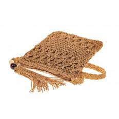 На фото 3 - Плетеная сумочка из мягкого джута, цвет крафт