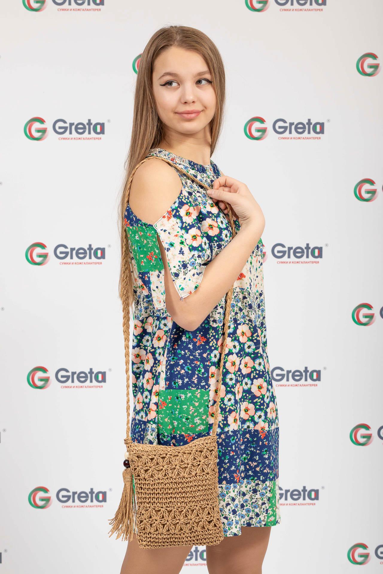 На фото 4 - Плетеная сумочка из мягкого джута, цвет крафт