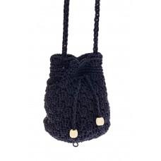 На фото 1 - Плетеная сумочка-торба из джута, цвет синий