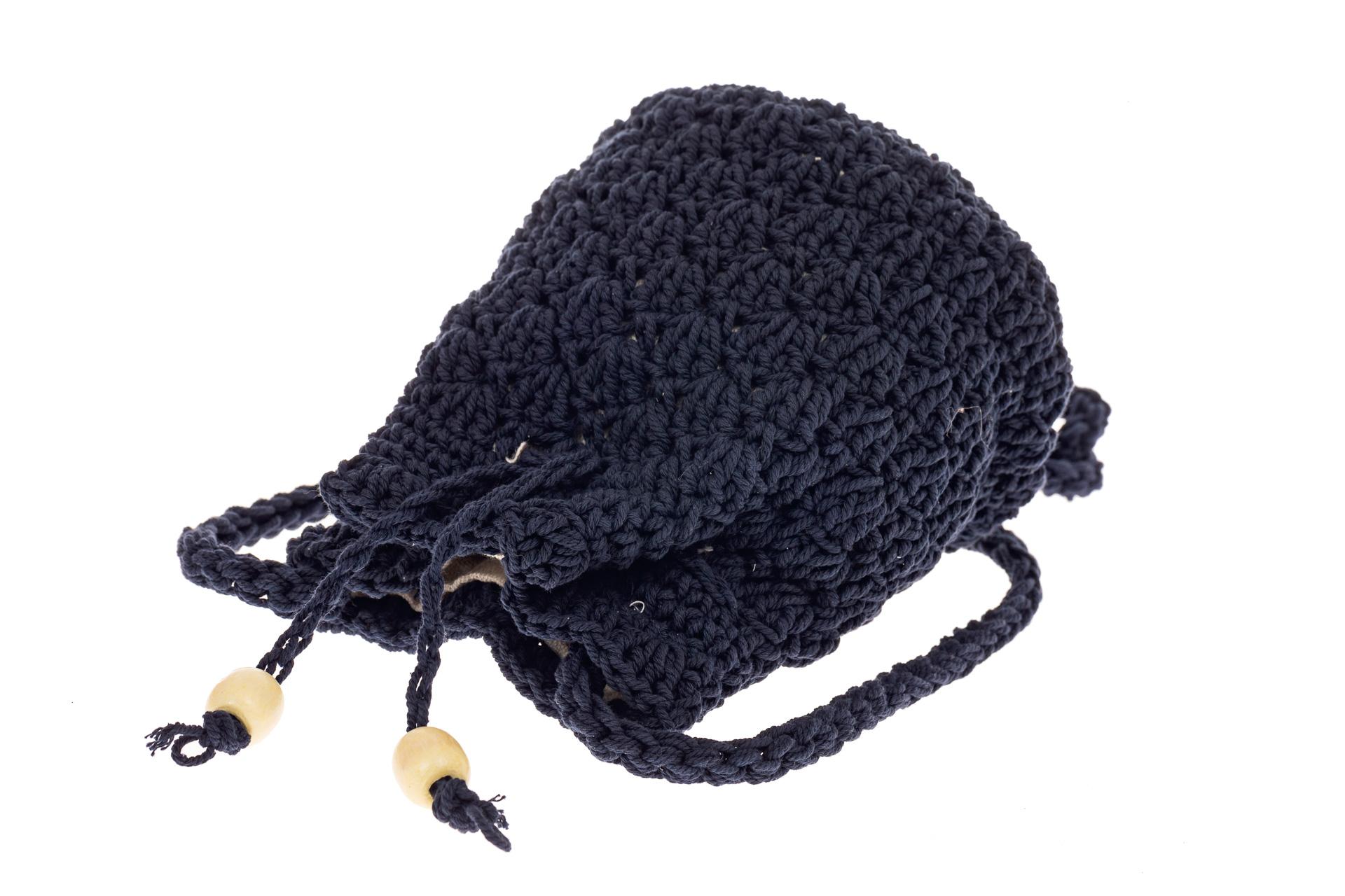 На фото 3 - Плетеная сумочка-торба из джута, цвет синий