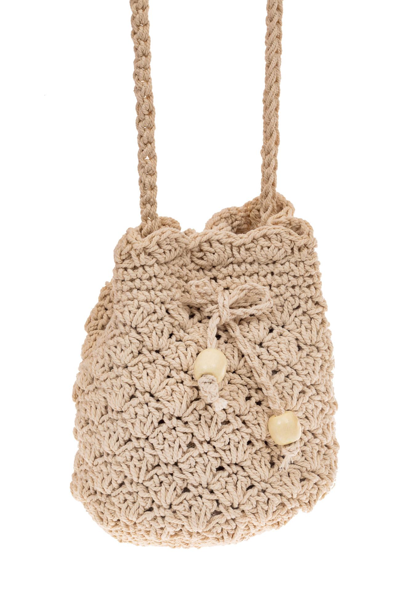 На фото 1 - Плетеная сумочка-торба из джута, цвет бело-бежевый