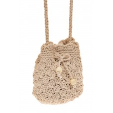 На фото 1 - Плетеная сумочка-торба из джута, цвет бело-...
