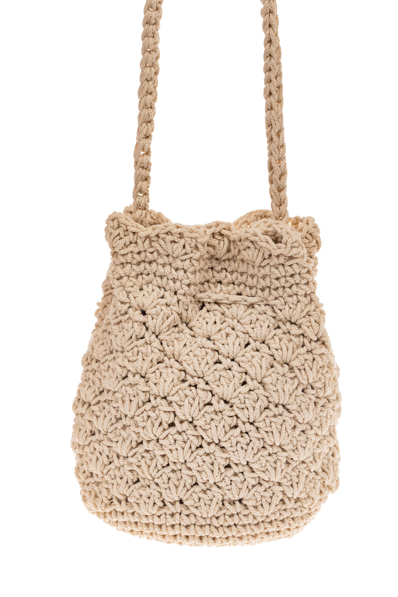 На фото 2 - Плетеная сумочка-торба из джута, цвет бело-бежевый