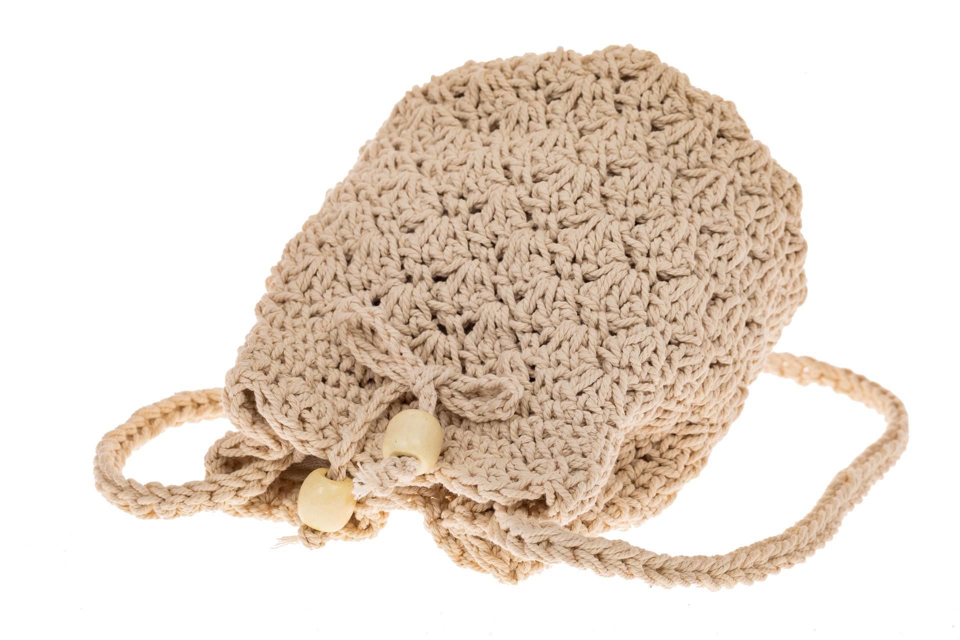На фото 3 - Плетеная сумочка-торба из джута, цвет бело-бежевый