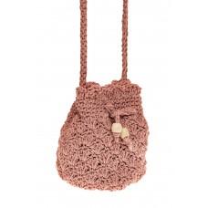 На фото 1 - Плетеная сумочка-торба из джута, цвет розов...