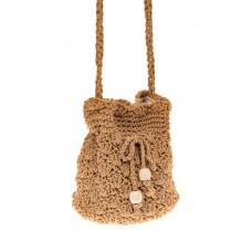 На фото 1 - Плетеная сумочка-торба из джута, цвет крафт