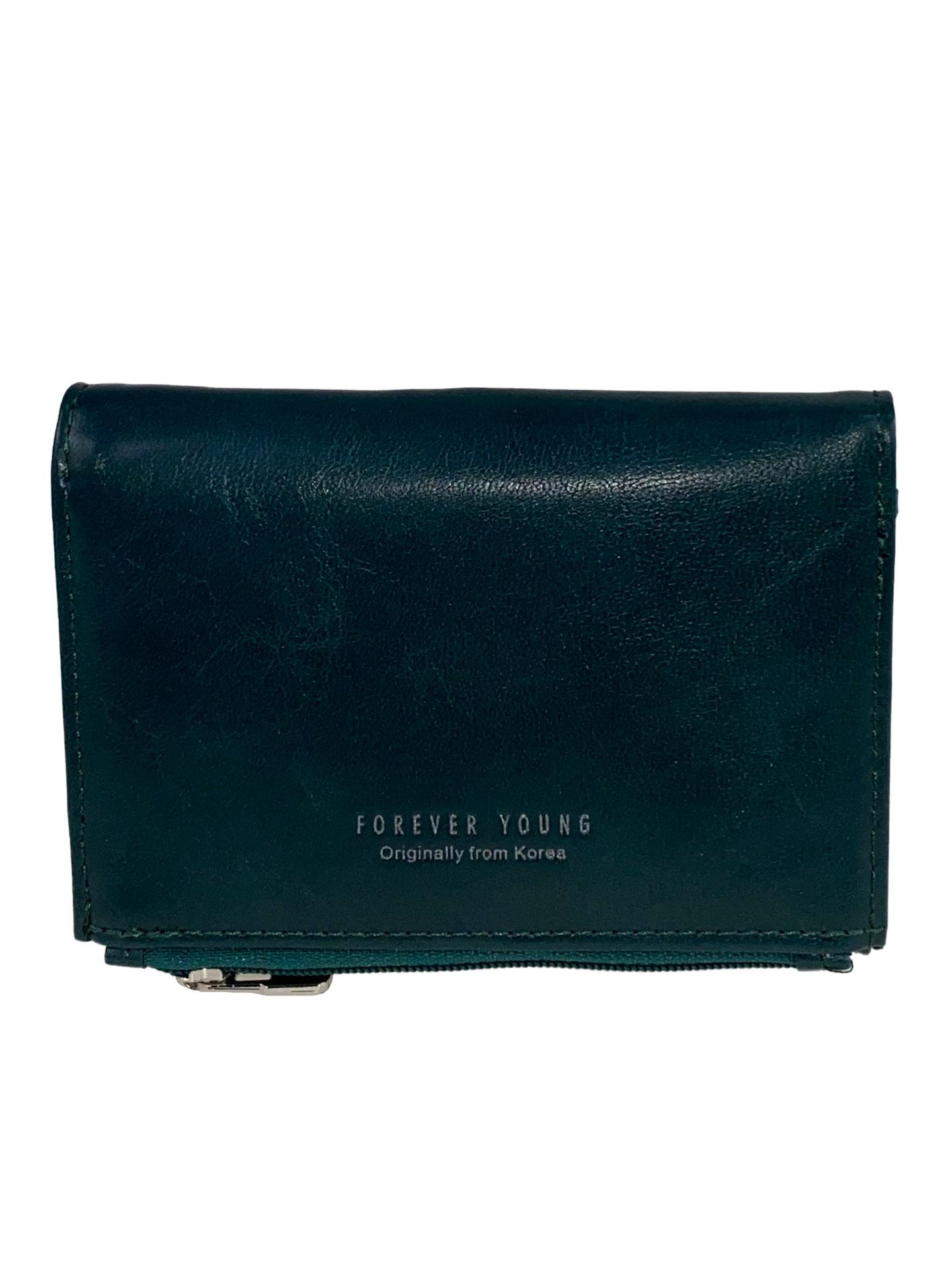 На фото 1 -  Небольшой женский кошелёк из искусственной кожи, цвет глубокий бирюзовый