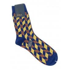 На фото 1 - Антибактериальные мужские носки с орнаментом, цвет синий с коричневым и жёлтым