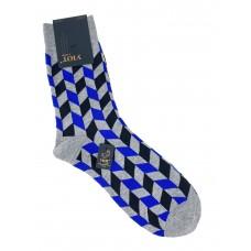 На фото 1 - Антибактериальные мужские носки с орнаментом, цвет серый с синим и чёрным