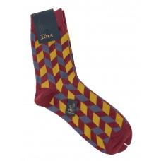 На фото 1 - Антибактериальные мужские носки с орнаментом, цвет бордовый с серым и жёлтым