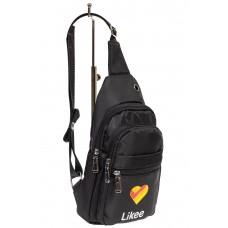 На фото 1 - Молодёжная сумка-слинг из текстиля, цвет чёрный
