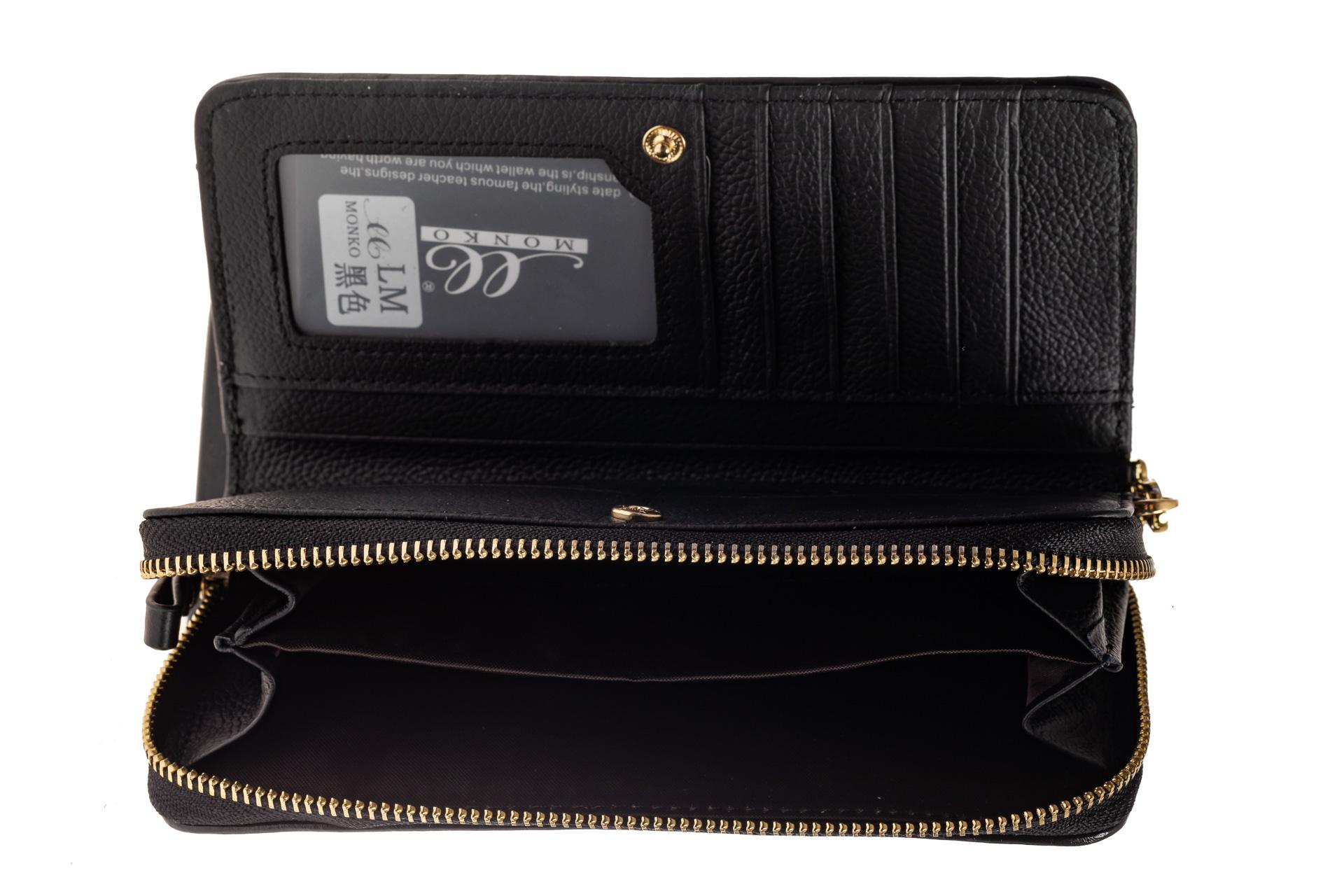 На фото 2 - Стеганый женский кошелек из натуральной кожи, цвет черный