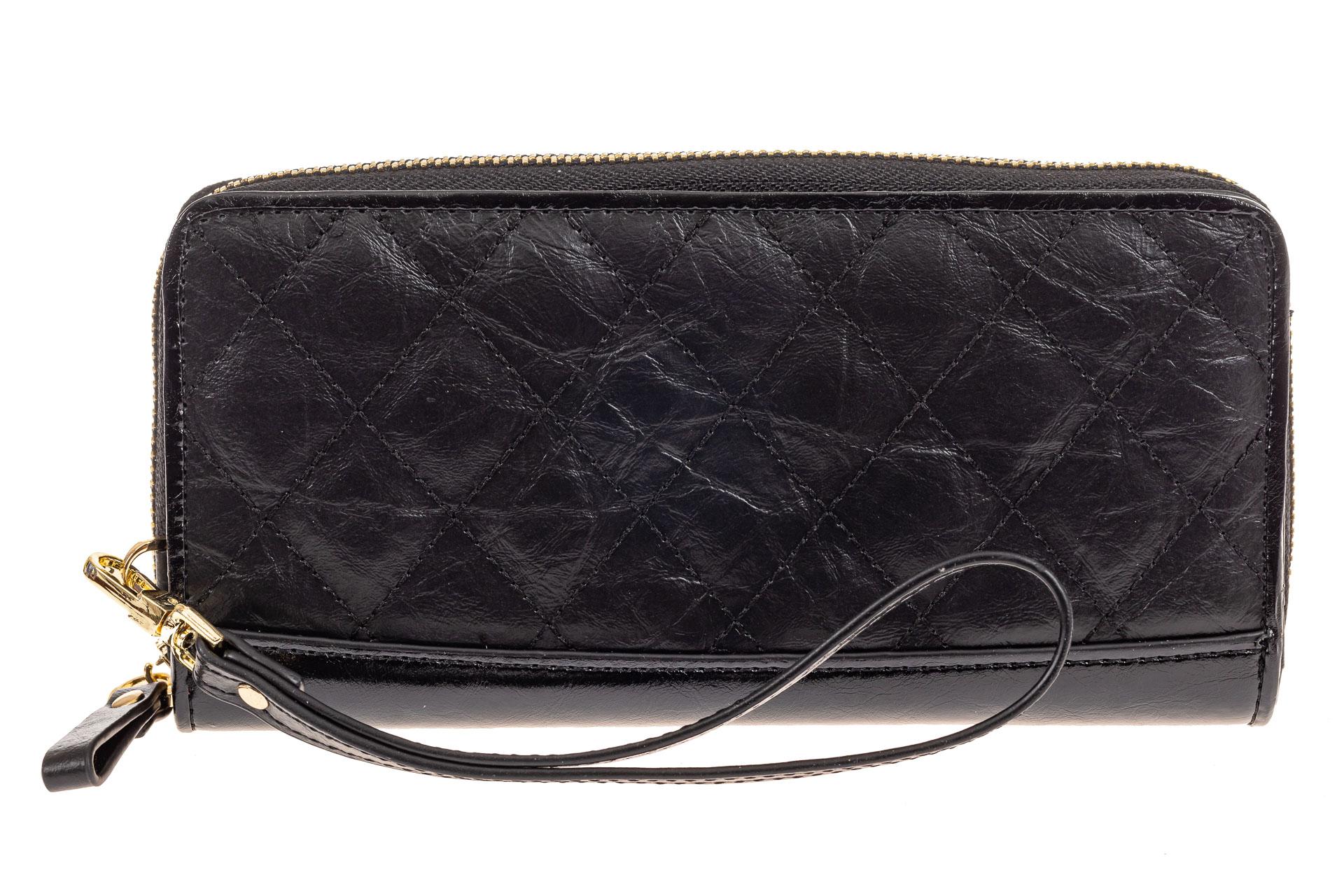 На фото 1 - Стеганый женский кошелек из натуральной кожи, цвет черный