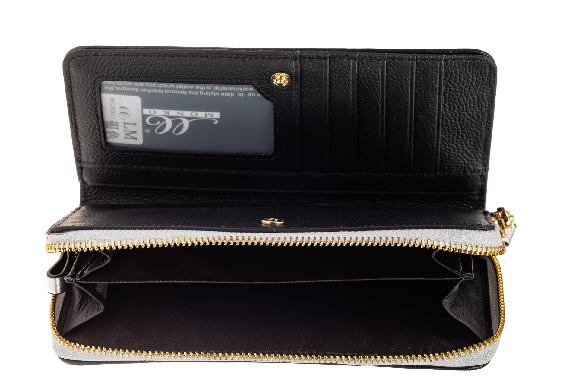 На фото 2 - Большой стеганый кошелек на молнии, подарочная упаковка, серебро