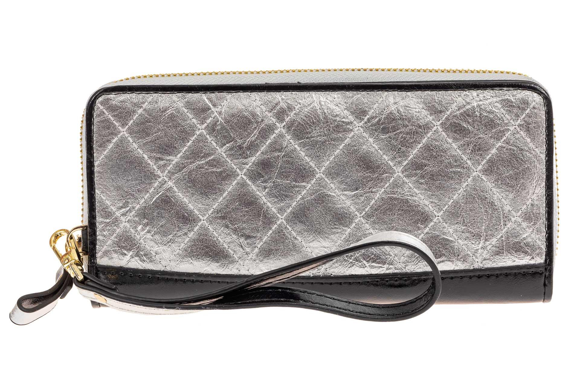 На фото 1 - Большой стеганый кошелек на молнии, подарочная упаковка, серебро